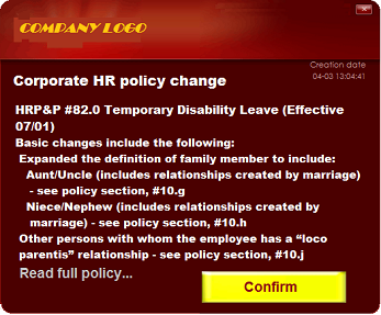 corporate employee communications policy change