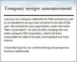 internal communication merger announcement