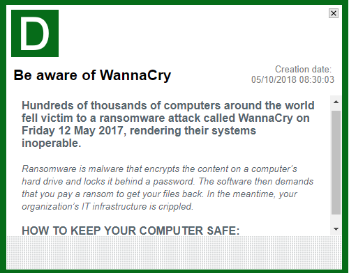 Alert with tips about Wannacry
