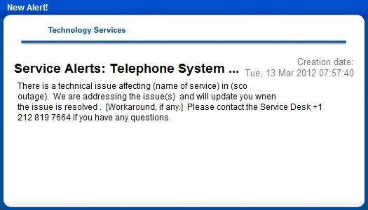 system services administration desktop notification
